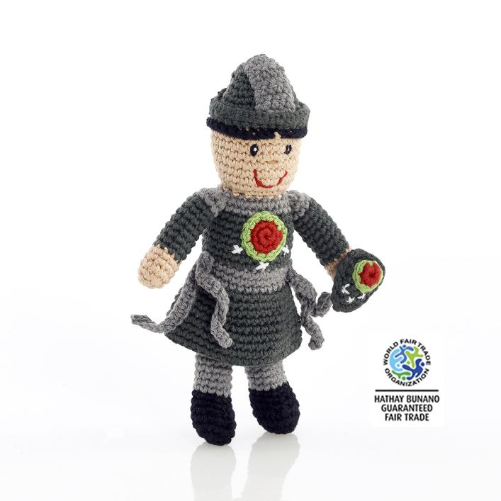 Fair Trade Crochet Cotton Knight Baby Rattle