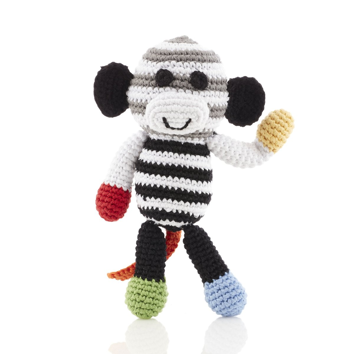 Black & white stripe monkey baby rattle with red, yellow hands and blue and green feet