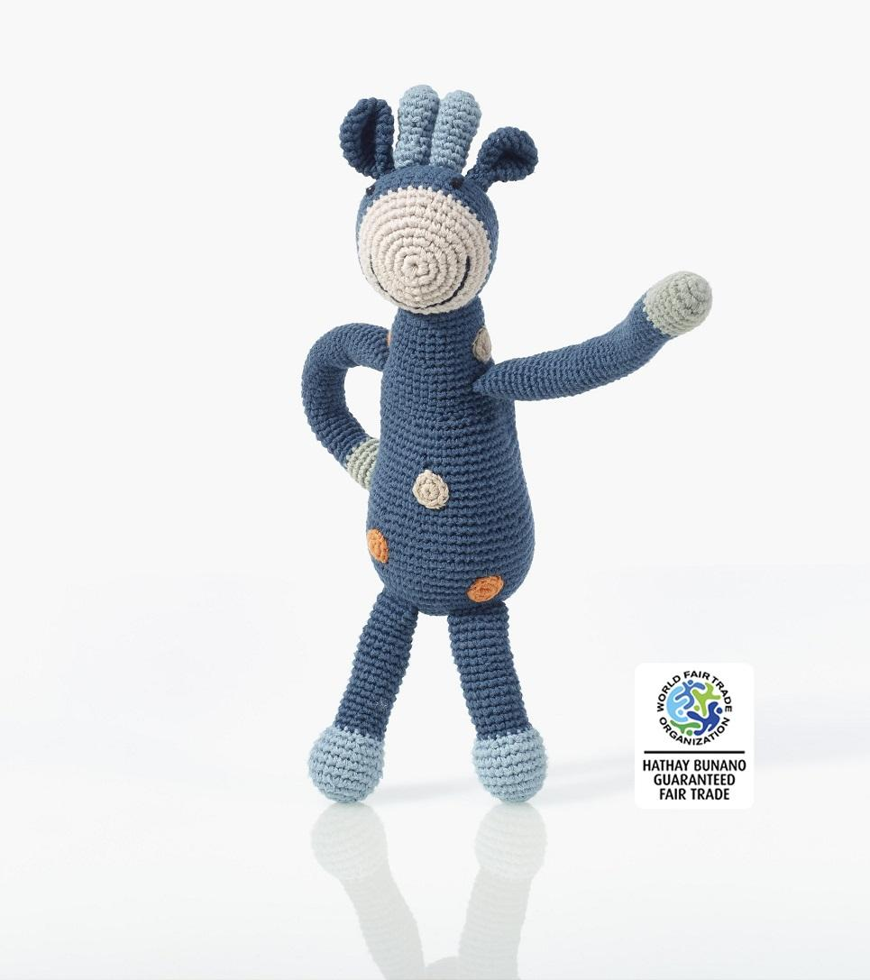 fair trade crochet organic cotton giraffe toy in petrol blue
