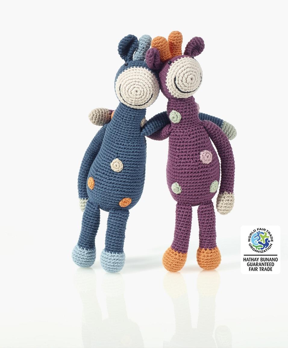 Organic Baby Toys : Baby toys giraffe rattle organic cotton in soft petrol blue