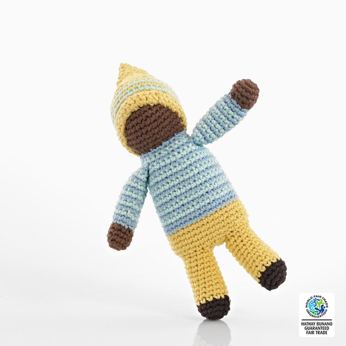 Fair Trade Crochet cotton faceless soft Doll Baby Toy in Blue top  and Yellow trousers and yellow hat