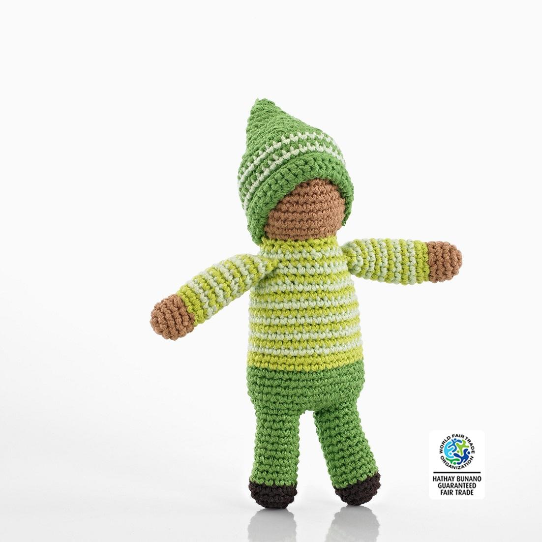 fair trade crochet cotton Pixie soft doll in green