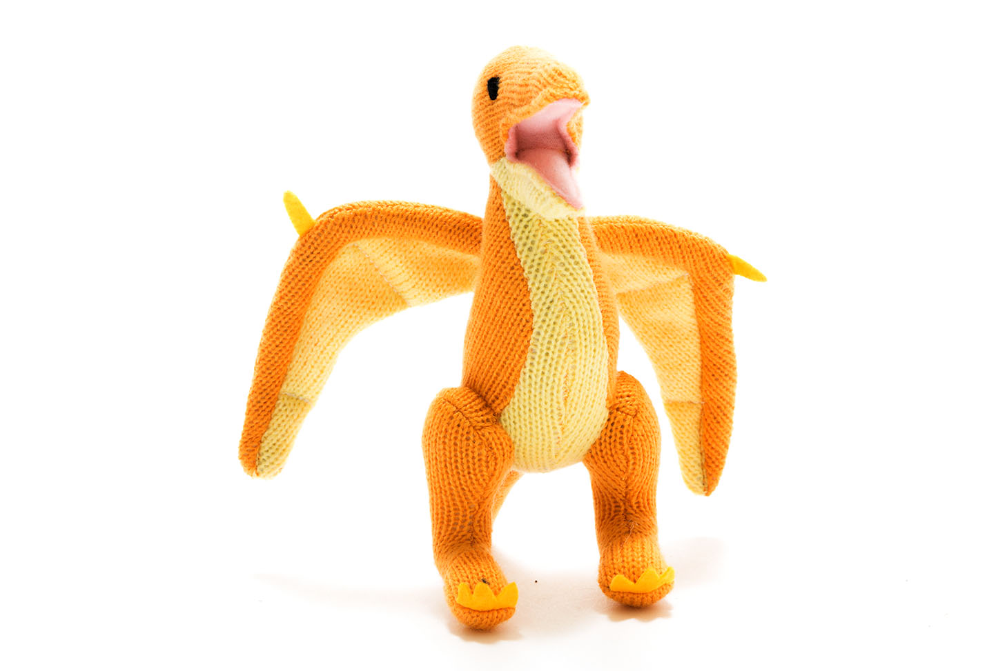 Yellow Pterodactyl Dinosaur Baby Rattle with Wings