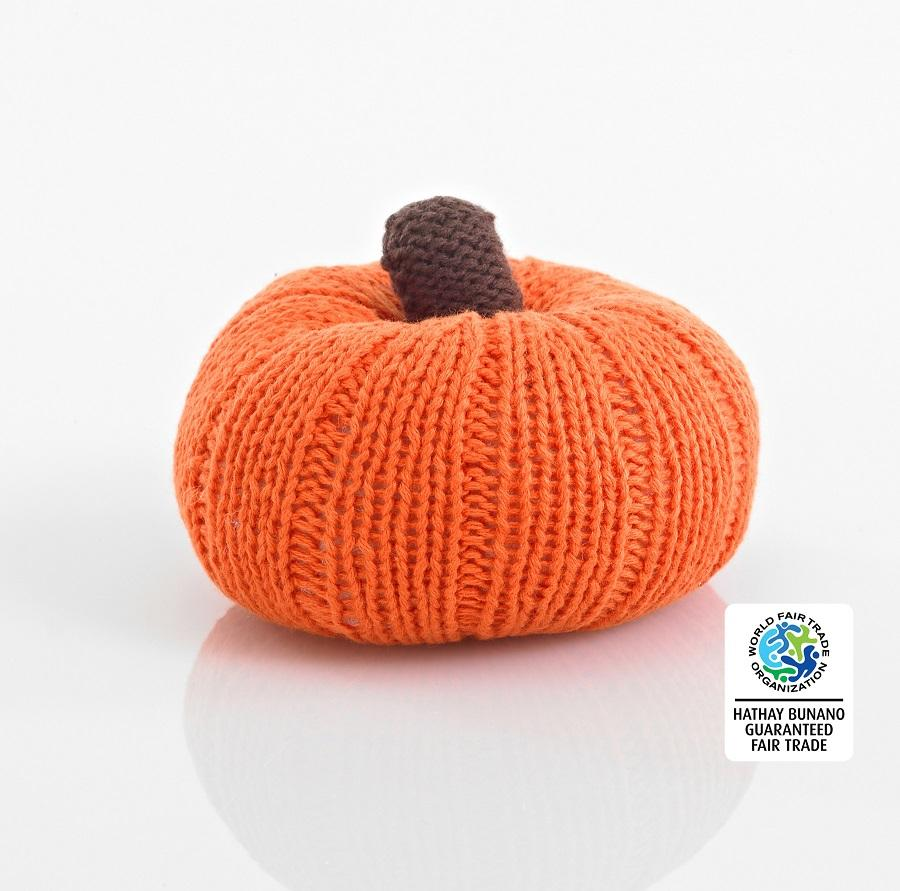 Crochet Cotton Pumpkin Baby Rattle
