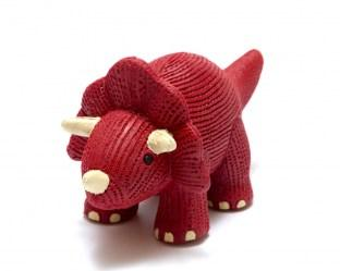 Red natural rubber triceratops dinosaur toy for babies with white horns and textured finish