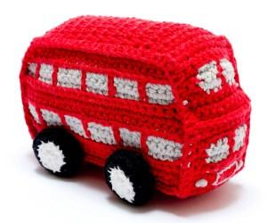 Crochet Cotton Double Decker Bus Baby Rattle