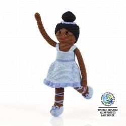 Handmade crochet ballerina doll in blue dress with blue ballet shoes and dark skin