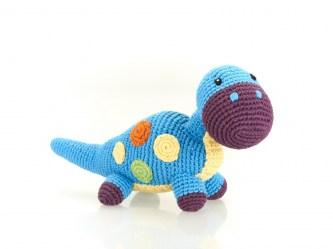Blue crochet diplodocus dinosaur baby toy with orange, yellow and green dots.