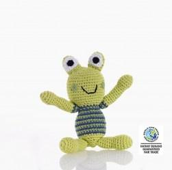 Crochet cotton frog boy baby rattle in stripe jumper