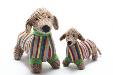 Knitted Sausage dog and rattle