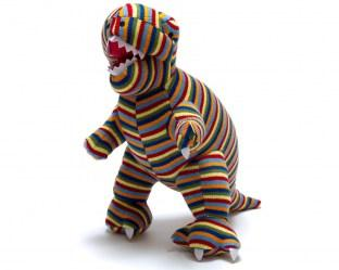 large stripe t rex dinosaur toy, knitted and suitable from birth