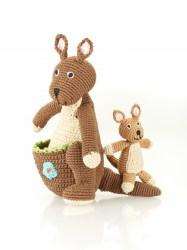 crochet cotton kangaroo soft toy with baby joey
