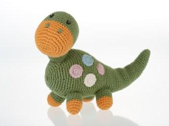 Fair Trade Organic Crochet Cotton Khaki Dippi Diplodocus Baby Dinosaur Rattle