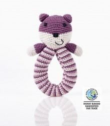 Organic bear Rattle Purple wfto