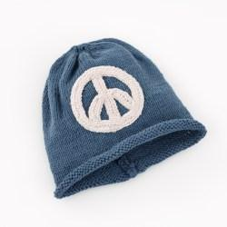 Organic peace sign hat - petrol blue