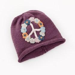 Organic peace sign hat - soft purple