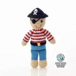 fair trade crochet pirate rattle. suitable from birth