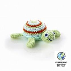 Crochet Cotton Turtle Baby Rattle