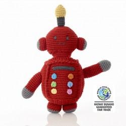 Fair Trade Crochet Cotton Robot Baby Rattle in Red
