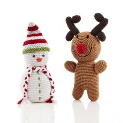 Snowman and Rudolph rattles