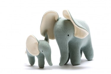 Teal large and small elephants