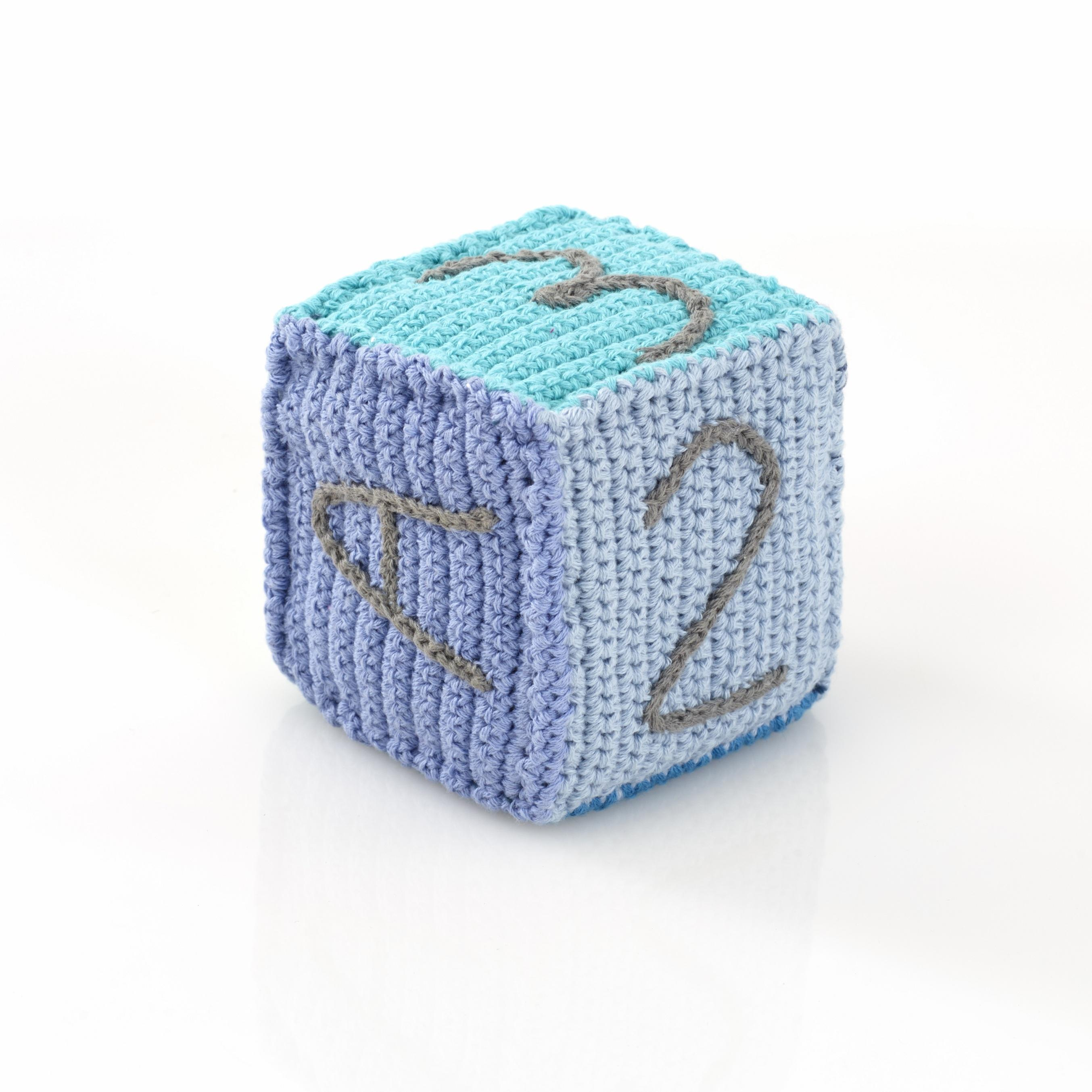 Baby Toys : Crochet Toy Building Block for Babies, blue