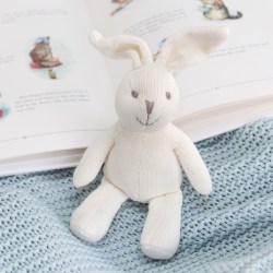Knitted white bunny baby rattle