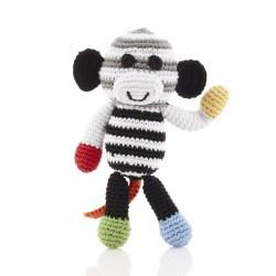 black and white monkey rattle baby toy