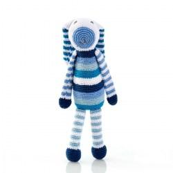 Crochet Blue Stripe Bunny Baby Rattle