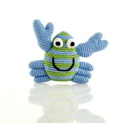 Crochet Cotton Crab Baby Rattle in blu & green stripes with smiley face