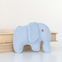 Knitted Organic Cotton Blue Elephant Toy