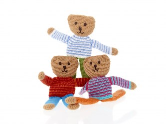 Fair Trade Crochet Cotton Flip Teddy Bear with Bright Blue Trousers