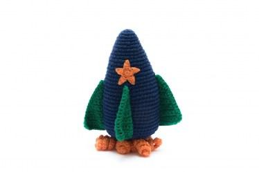 handmade cotton crochet blue and green rocket baby toy with rattle