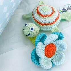Crochet Cotton Turquoise Flower Baby Rattle