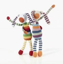 Rainbow stripe bunny baby rattle
