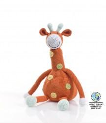 Large crochet orange giraffe soft toy with yellow and green dots on its body and smiley face