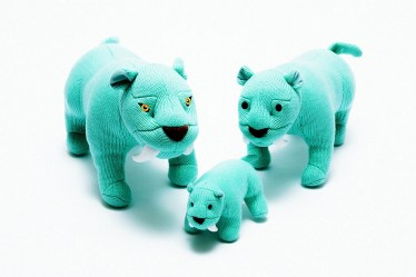 knitted Sabre tooth tiger family