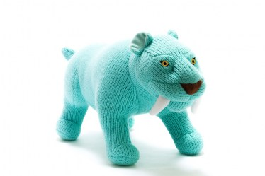 knitted large sabre tooth tiger toy