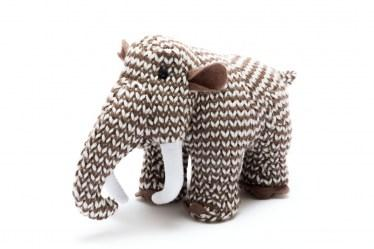 small woolly brown mammoth dinosaur baby toy with rattle
