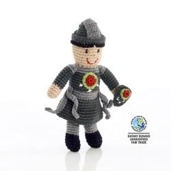 Fair Trade Crochet Cotton Knight Baby Rattle in Grey with green and red shield detail and grey hat