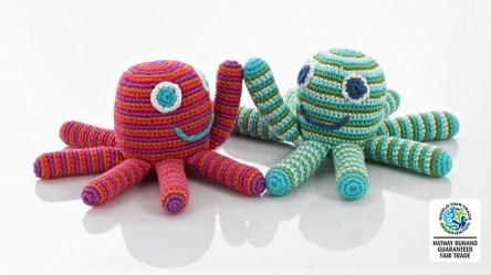 Crochet Cotton Octopus Baby Rattle Pink Stripes