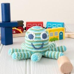 Crochet Cotton Octopus Baby Rattle in Blue and Green Stripes