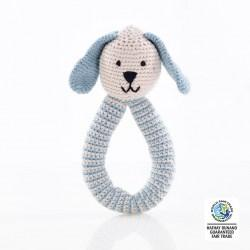 organic dusty blue rattle wfto