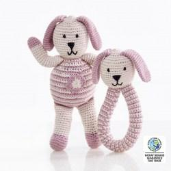 organic dusty pink rattle and bunny wfto