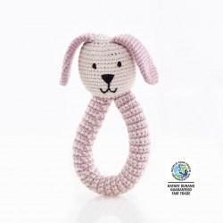 organic dusty pink rattle wfto