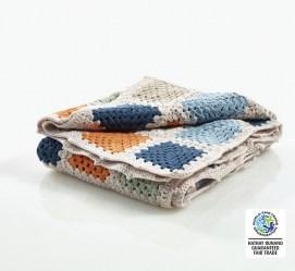 fair trade and organic petrol blue crochet blanket
