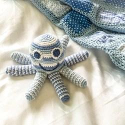 pale blue octopus and blanket