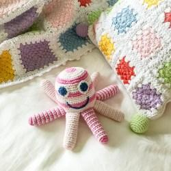 pale pink octopus and blanket