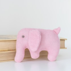 Knitted Pink Elephant Baby Rattle