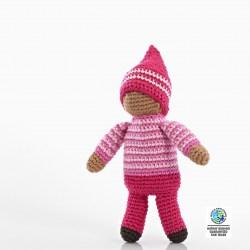 Crochet Cotton Pixie Soft Doll Baby Toy in Rose Pink with stripe jumper and pink pointy hat